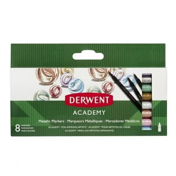 Металикови Флумастери за Черна Хартия Derwent Academy 8 Цвята