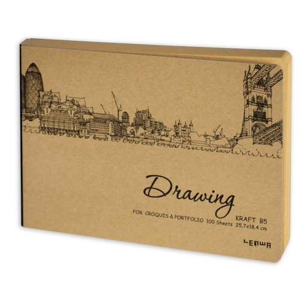 'Drawing' скицник 25.7*18.4cm, 100 листа крафт