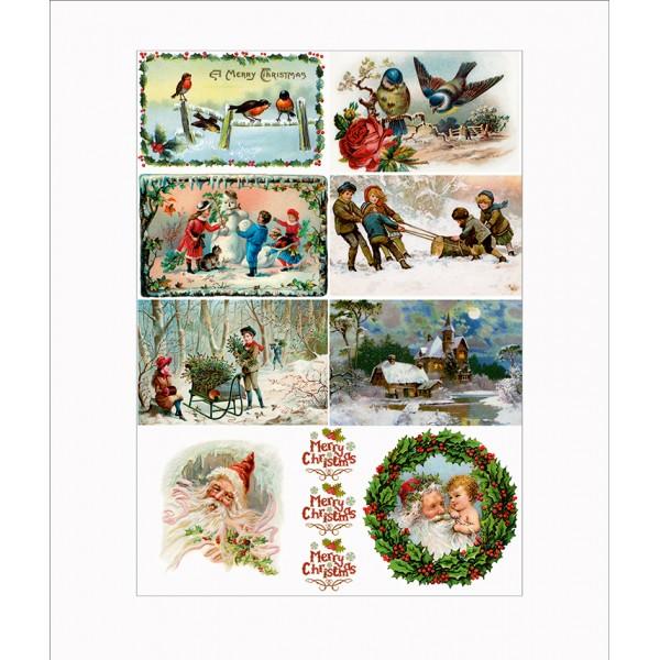 Оризова хартия за декупаж - A4 - Коледа 07