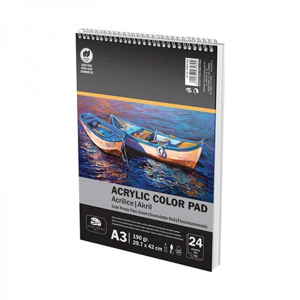 Скицник за рисуване с акрилни бои Pigna, Спирала, A3, 190 гр, 24 л