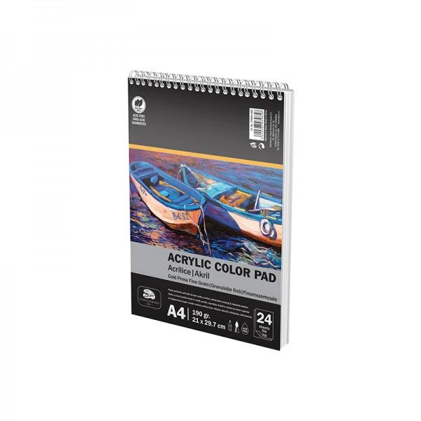 Скицник за рисуване с акрилни бои Pigna, Спирала, A4, 190 гр, 24 л