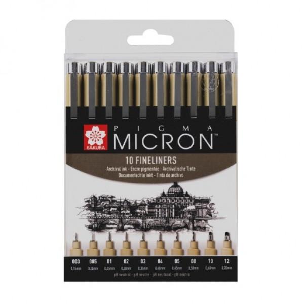 Черни тънкописци Sakura Pigma Micron, Комплект 10 броя