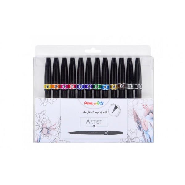 Акварелни маркери-четка Pentel Brush Sign Artist УЛТРА ФИНИ комплект 12цв