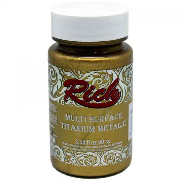 Акрилна боя Rich Multi Surface Titanium Metalic 90ml. - ANT. GOLD