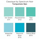 Двувърхи алкохолни маркери Classique - Комплект 6 Цвята - Тюркоазени