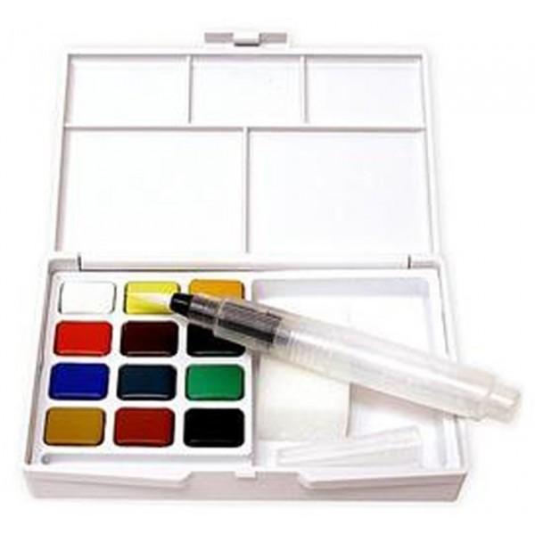акварелна боя комплект Сакура Кой Пленер 12 цвята, с четка