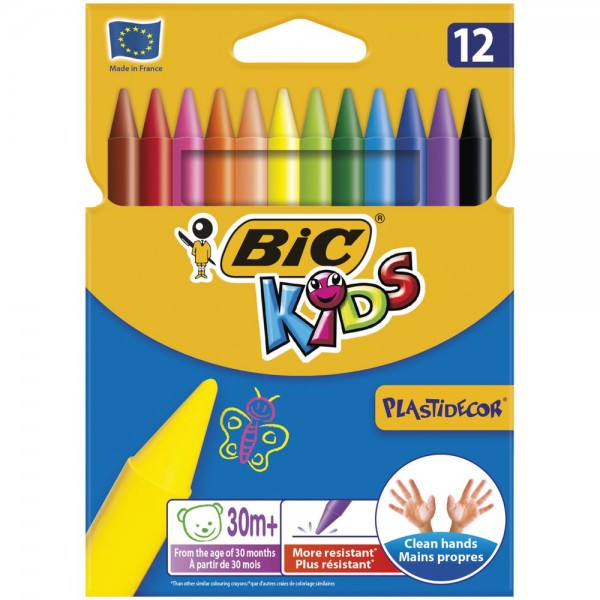 Пастели BIC пластидекор, 12 цвята