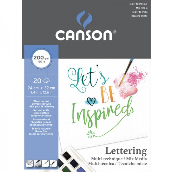 Блок за смесена техника - CANSON PAD LETTERING 24X32 200гр