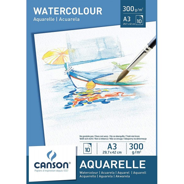 АКВАРЕЛЕН блок 10л A3 - CANSON WATERCOLOUR PAPER PAD 300g