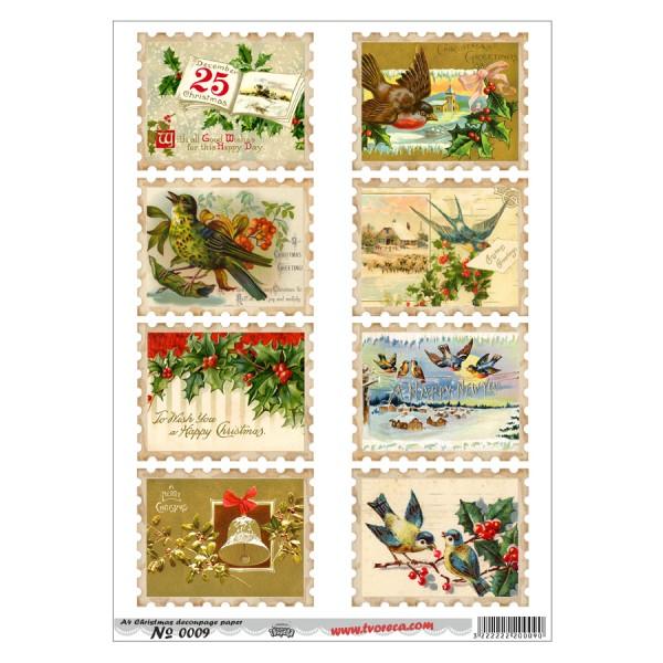 Оризова хартия за декупаж - A4 - Коледа 09