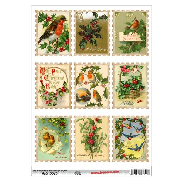 Оризова хартия за декупаж - A4 - Коледа 10