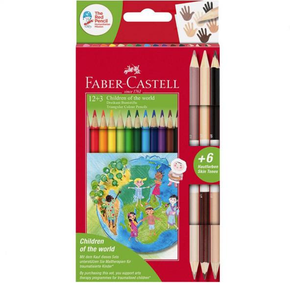 Faber-Castell Цветни моливи Triangular, 12 цвята, в комплект с 3 двувърхи цветни молива