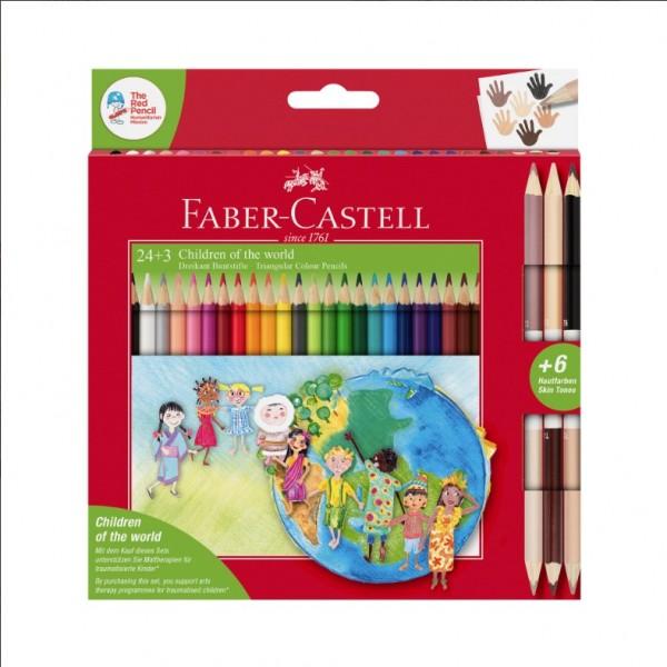 Faber-Castell Цветни моливи Triangular, 24 цвята, в комплект с 3 двувърхи цветни молива