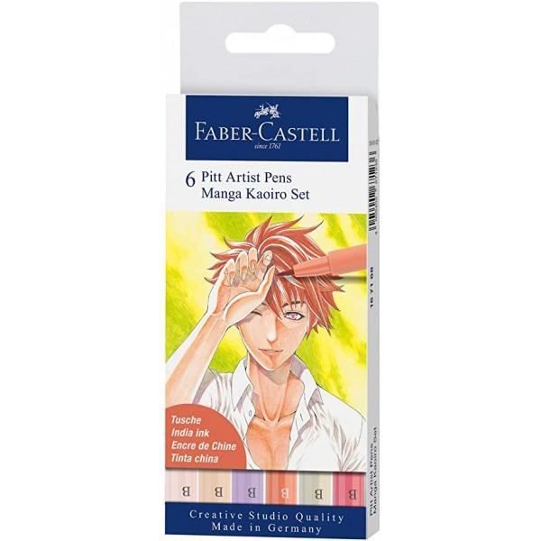 Faber-Castell комплект Manga Kaoiro Set - 6 PITT artist pens brush