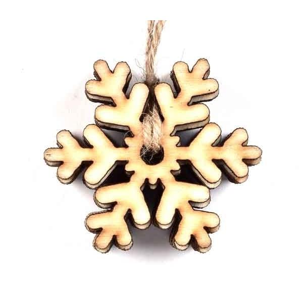 Коледна Дървена Фигурка - Снежинка 45 mm 6 бр