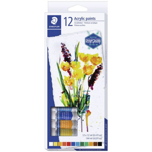 Комплект акрилни бои Staedtler Design Journey, 12 цвята