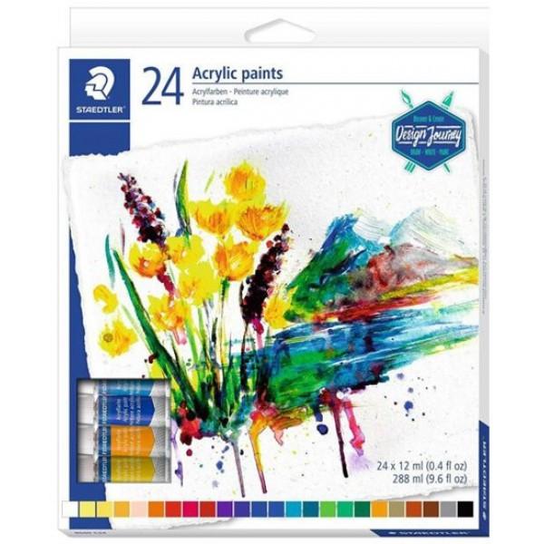 Комплект акрилни бои Staedtler Design Journey, 24 цвята