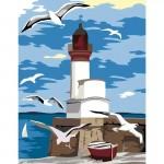 Комплект за Рисуване по Номера : Сложност I : Морски Фар с Чайки