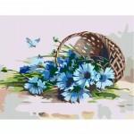 Комплект за Рисуване по Номера : Сложност I : Синя Метличина в Кошница