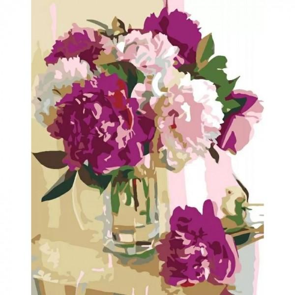 Комплект за Рисуване по Номера : Сложност II : Розови Божури