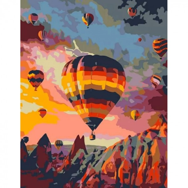 Комплект за Рисуване по Номера : Сложност III : Балони в Кападокия