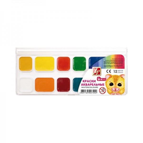 Комплект акварелни бои Luch класика 12 цвята Zoo