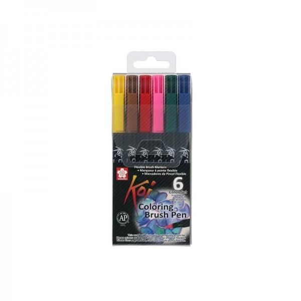 Маркер Четка Sakura Koi : Комплект 6 Цвята : Ярки