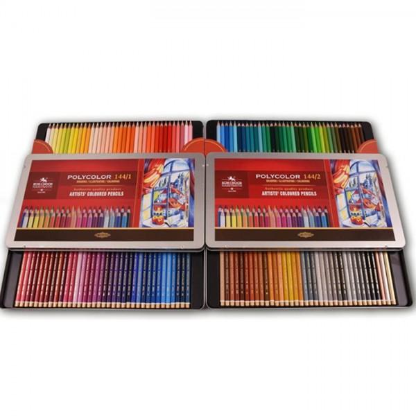 """Комплект цветни моливи """"Polycolor"""" 144 цвята метална кутия"""