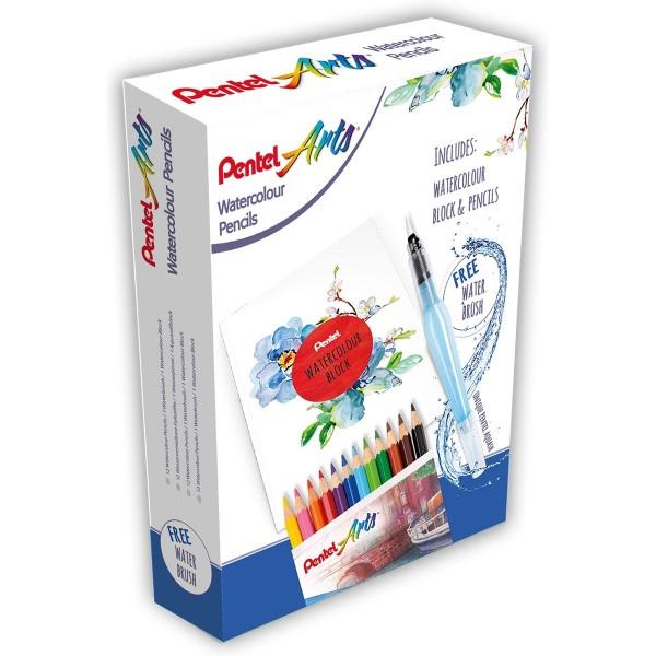 Pentel Акварелни моливи и блок + четка с резервоар