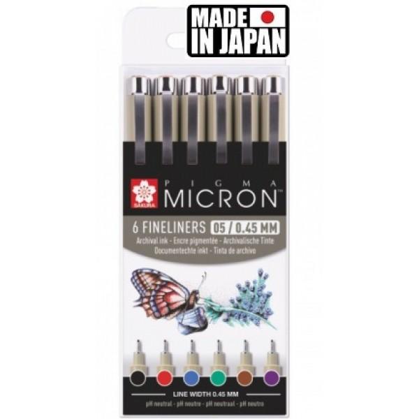 PIGMA MICRON 05 BASIC SET Japan - Профи комплект 6бр