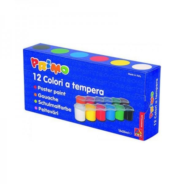 Комплект темперни бои Primo 12 цвята в бурканчета