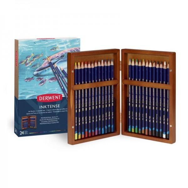 Derwent комплект моливи 24цв Инктенз в дървена кутия