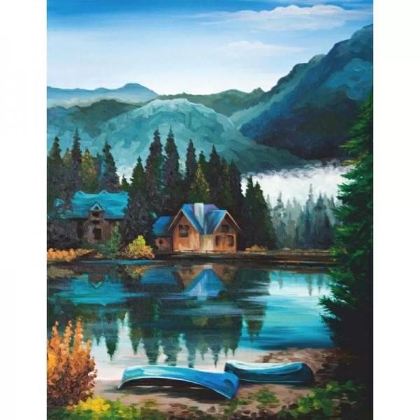Rosa комплект за Рисуване на Картина по Контури - Акрилни Бои - Хижа в Планината