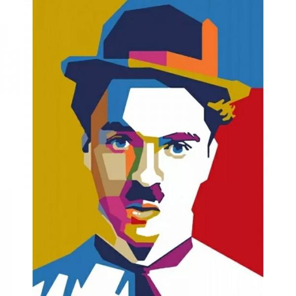 Rosa комплект за Рисуване на Картина по Номера - Акрилни Бои - Super Stars - Charlie Chaplin
