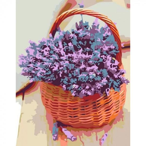 Rosa комплект за Рисуване по Номера с Акрилни Бои : Кошница с Лавандула